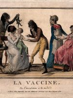 V0011688 A corpulent woman provides the pustule for the vaccination o Credit: Wellcome Library, London. Wellcome Images images@wellcome.ac.uk http://wellcomeimages.org A corpulent woman provides the pustule for the vaccination of a child by a couple of dandified doctors. Etching, c. 1800. Published: [c. 1800]  Copyrighted work available under Creative Commons Attribution only licence CC BY 4.0 http://creativecommons.org/licenses/by/4.0/